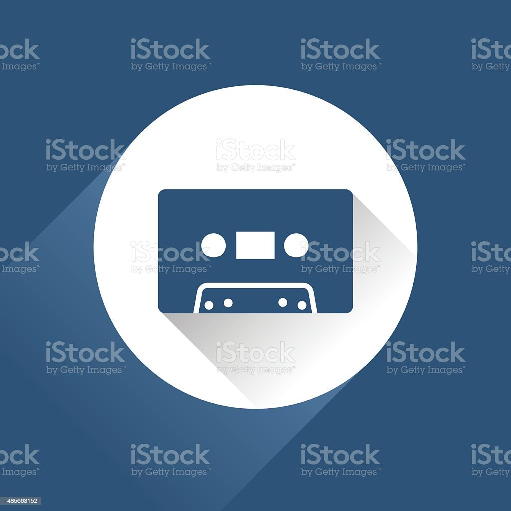 Modern audio icon with cassette and long shadow, vector vector art illustration
