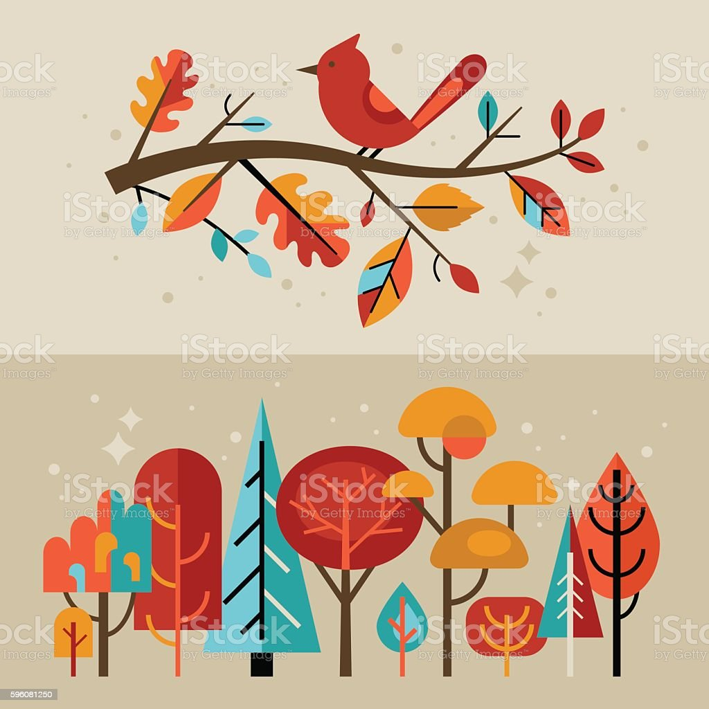 modern autumn banners with fall leaves and trees for graphic stock