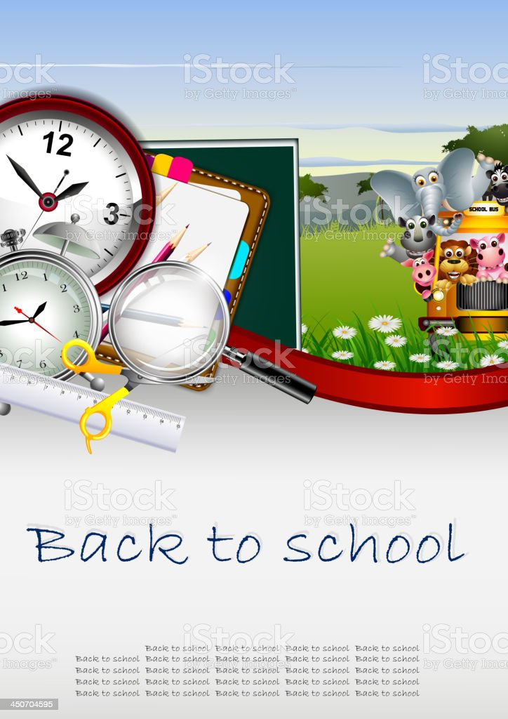 Modern Back to school background with animal wildlife royalty-free stock vector art