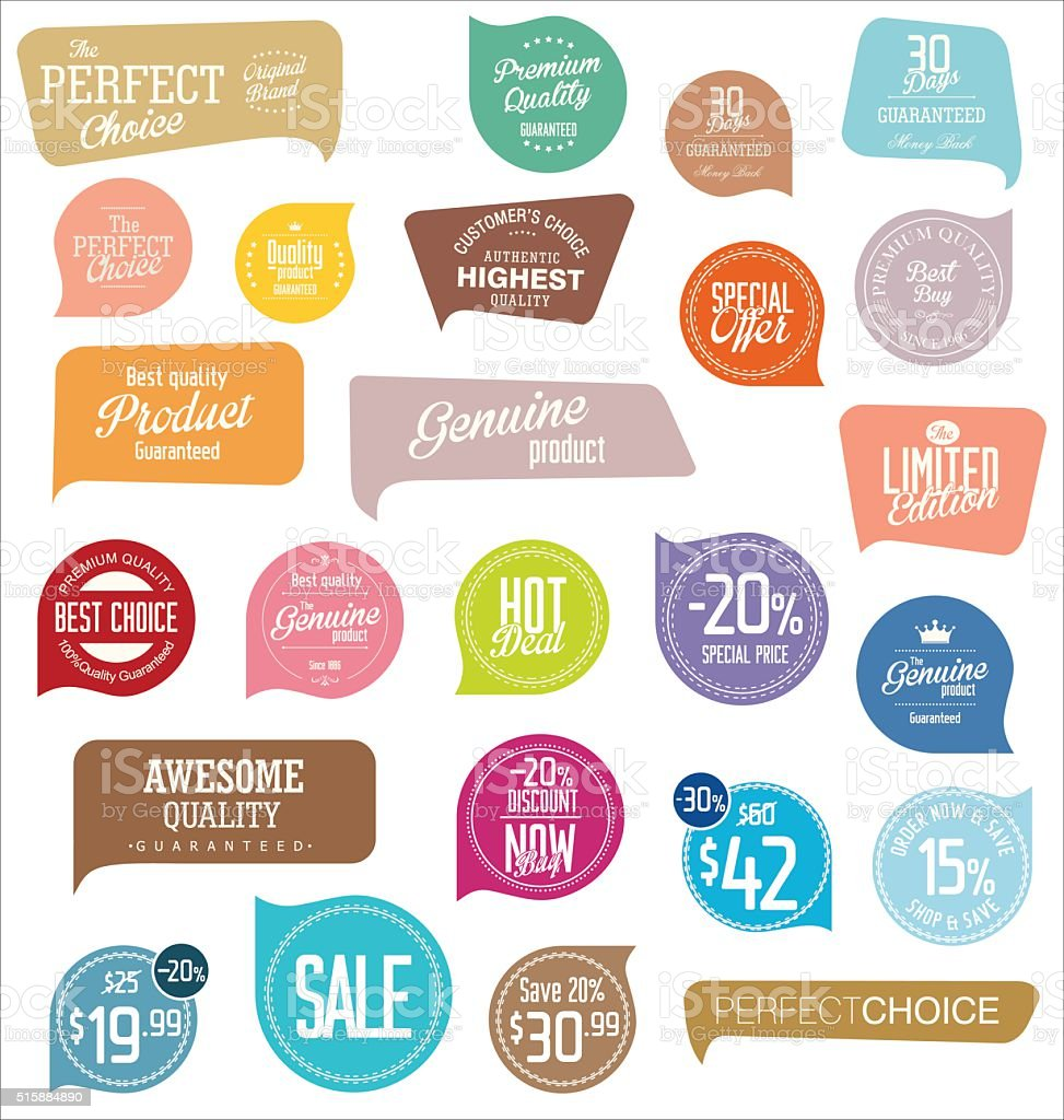 Modern badges collection vector art illustration