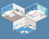 modern bedroom design in isometric style.