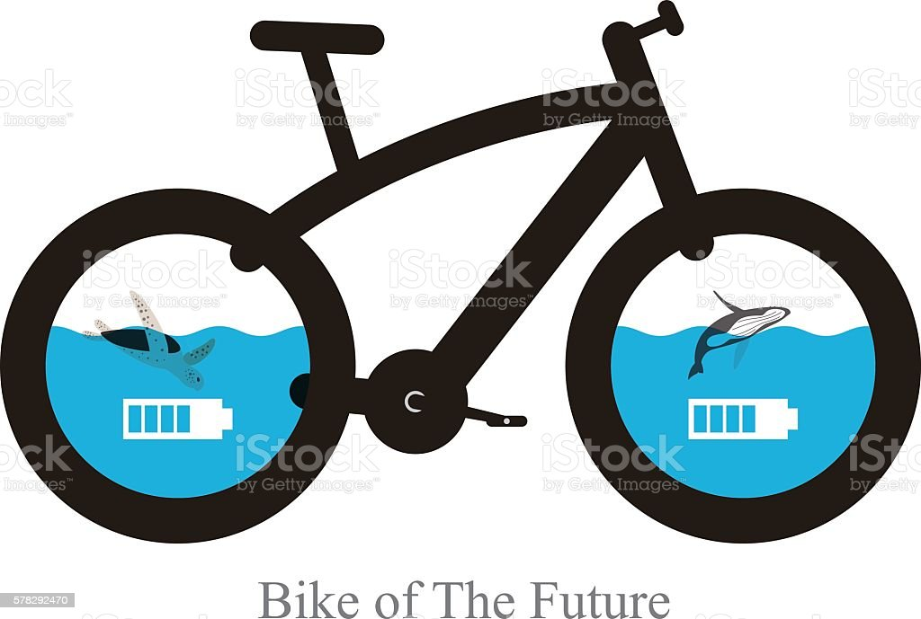 modern bicycle of the future, Vector illustration vector art illustration