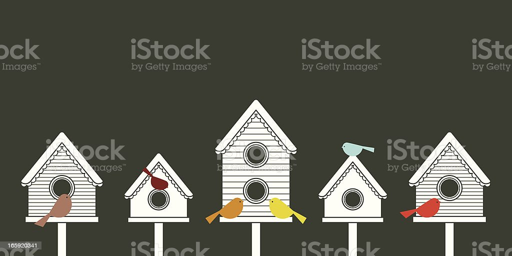 Modern Birdhouses royalty-free stock vector art
