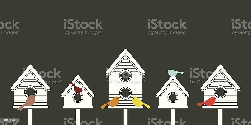 Modern Birdhouses vector art illustration