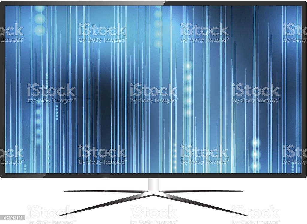 Modern blank flat screen TV set, on white background royalty-free stock vector art