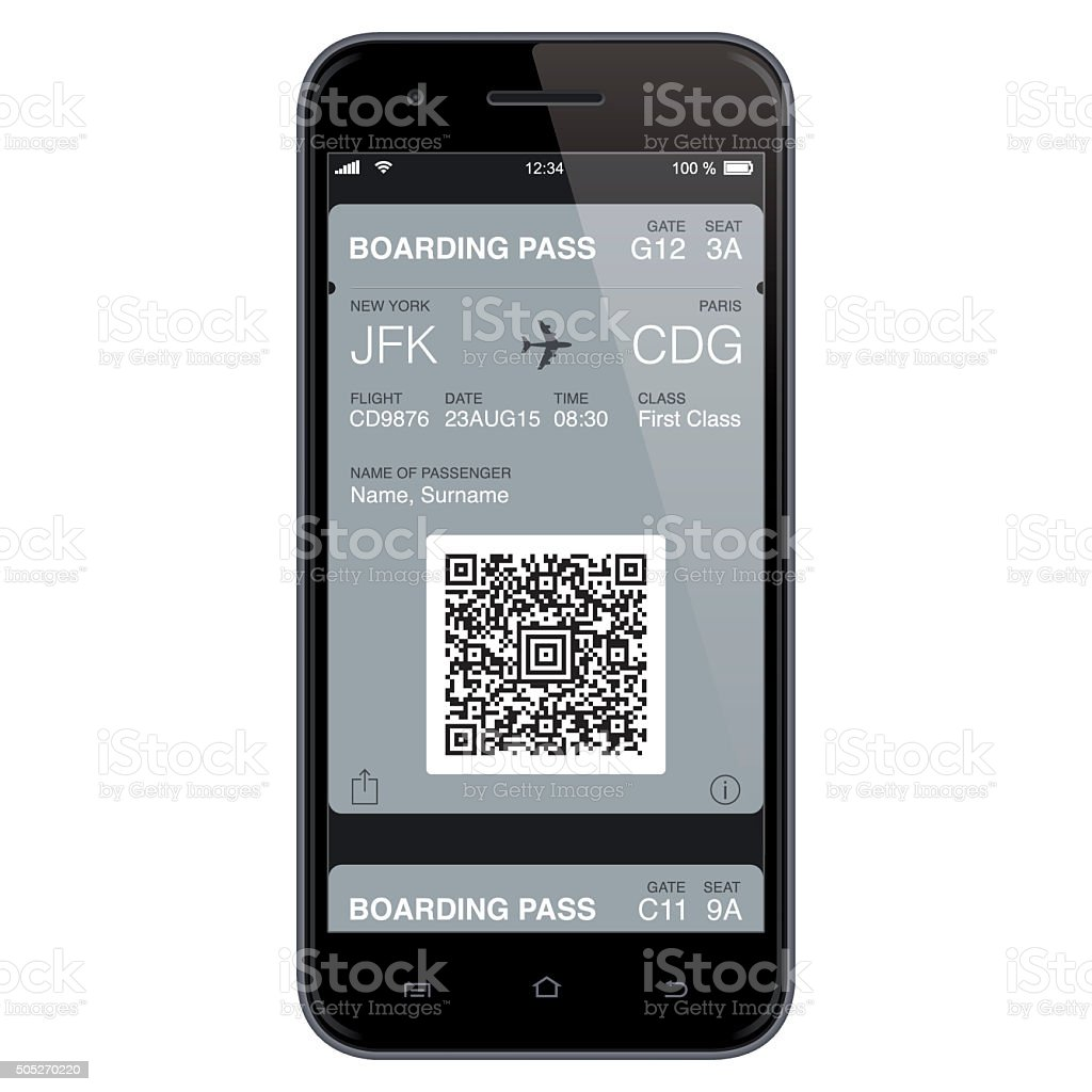 Modern Boarding Pass Template. Vector vector art illustration