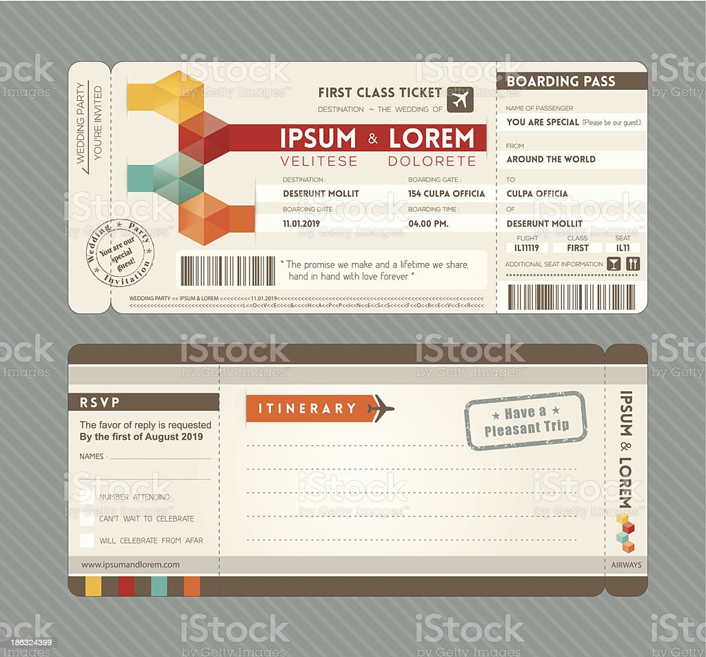 Modern boarding pass ticket as wedding invitation vector art illustration