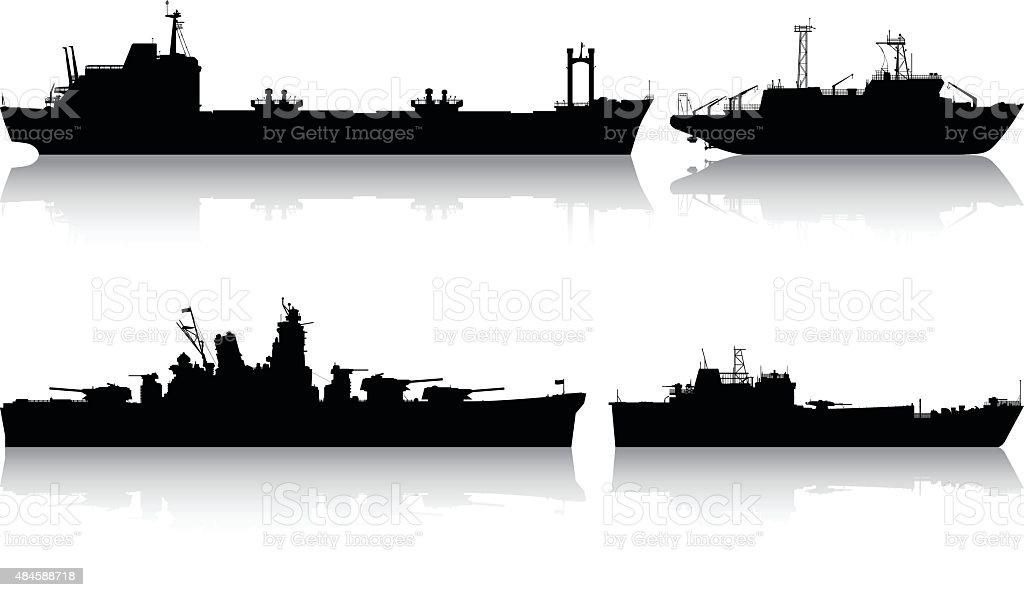 Modern Boats vector art illustration