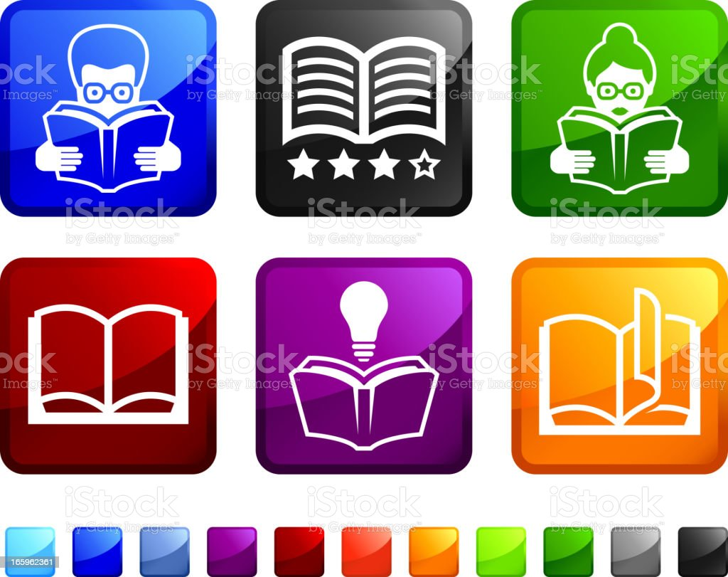 Modern Books and Library royalty free vector icon set stickers vector art illustration