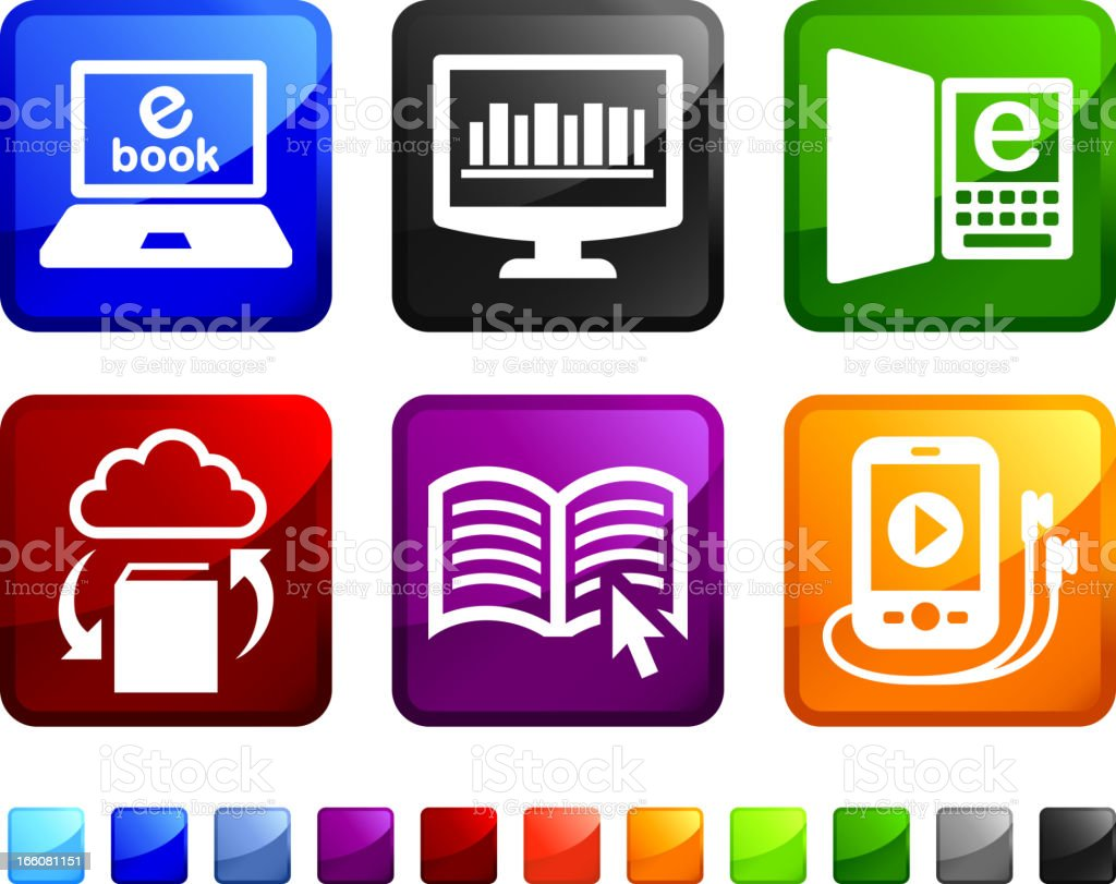 Modern Books royalty free vector icon set stickers vector art illustration