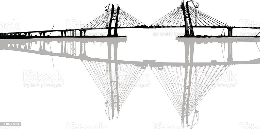 Modern bridge on white vector art illustration