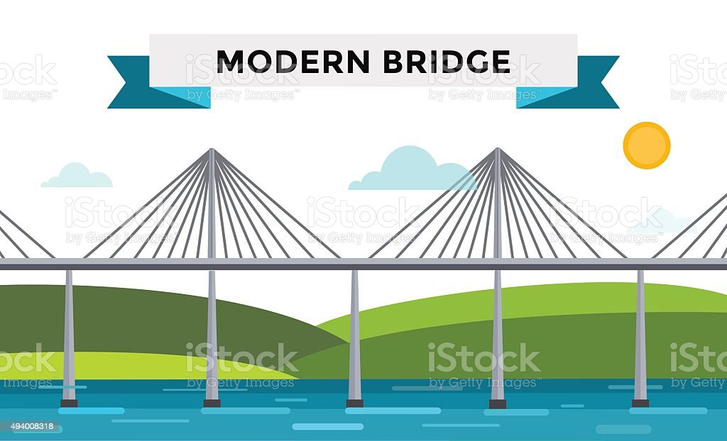 Modern bridge vector illustration vector art illustration