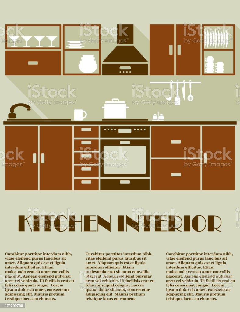 Modern brown kitchen interior design vector art illustration