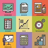 Modern Business Analysis and Finance Color Icon Set.