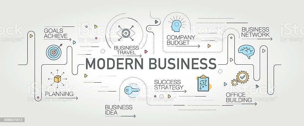 Modern Business banner and icons vector art illustration