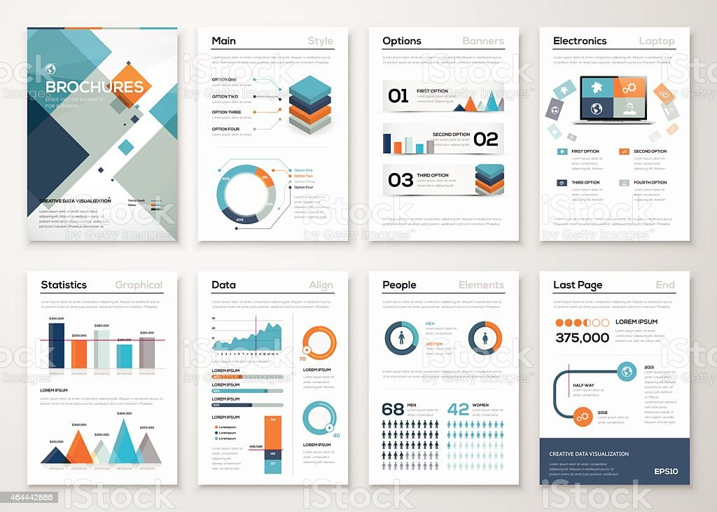 Modern business brochures and infographic vector elements vector art illustration