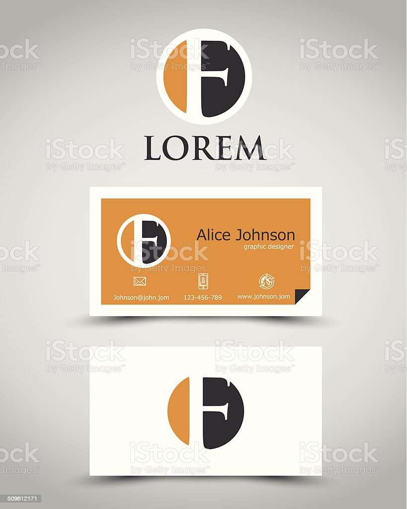 modern business card F vector art illustration
