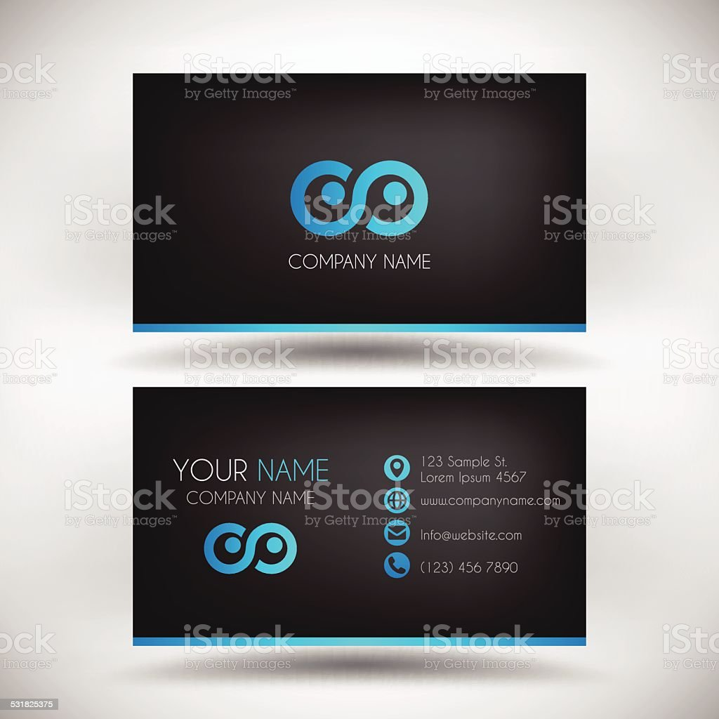 Modern Business Card Template with black Background vector art illustration
