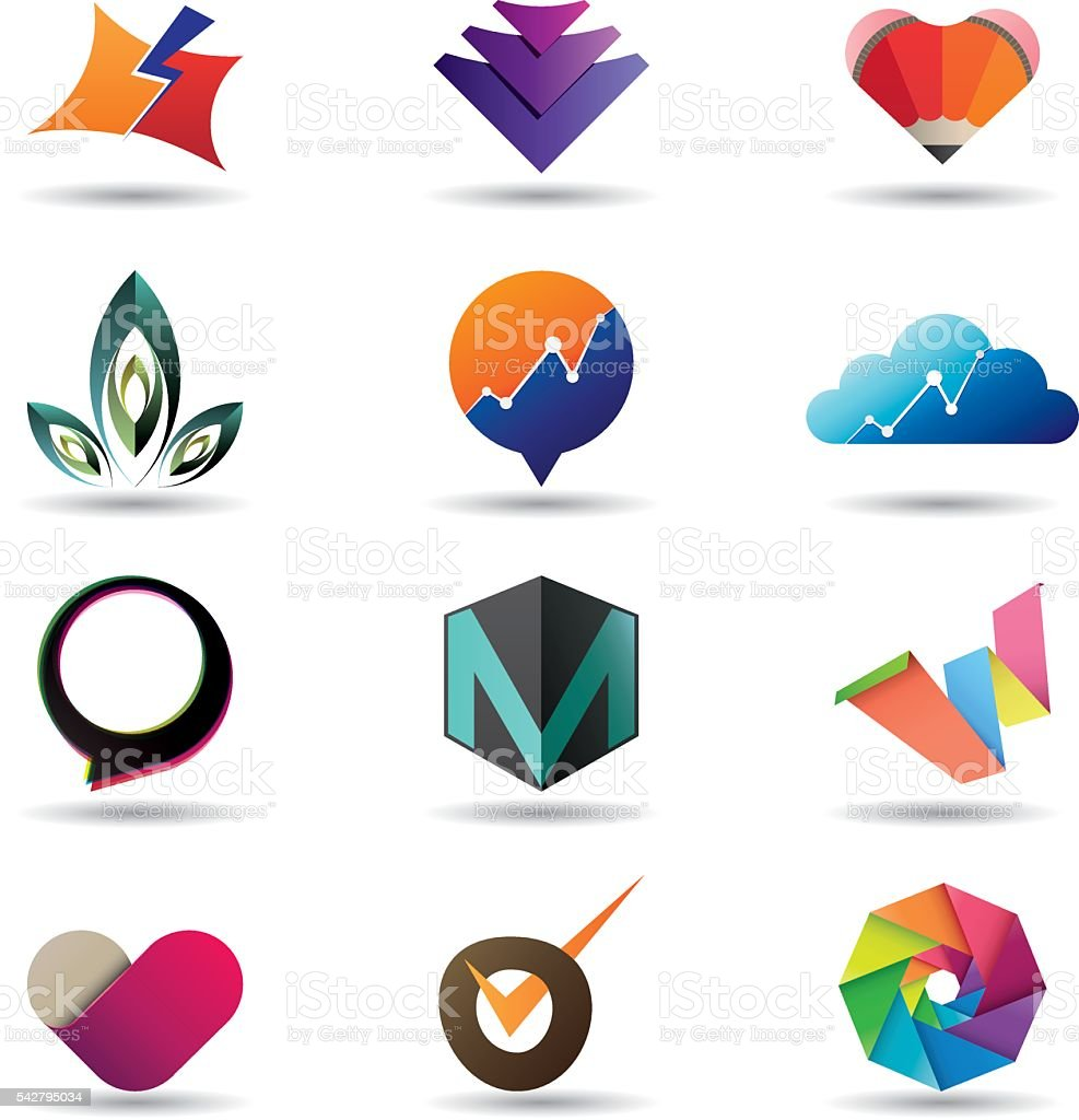 Modern business icon collection vector art illustration