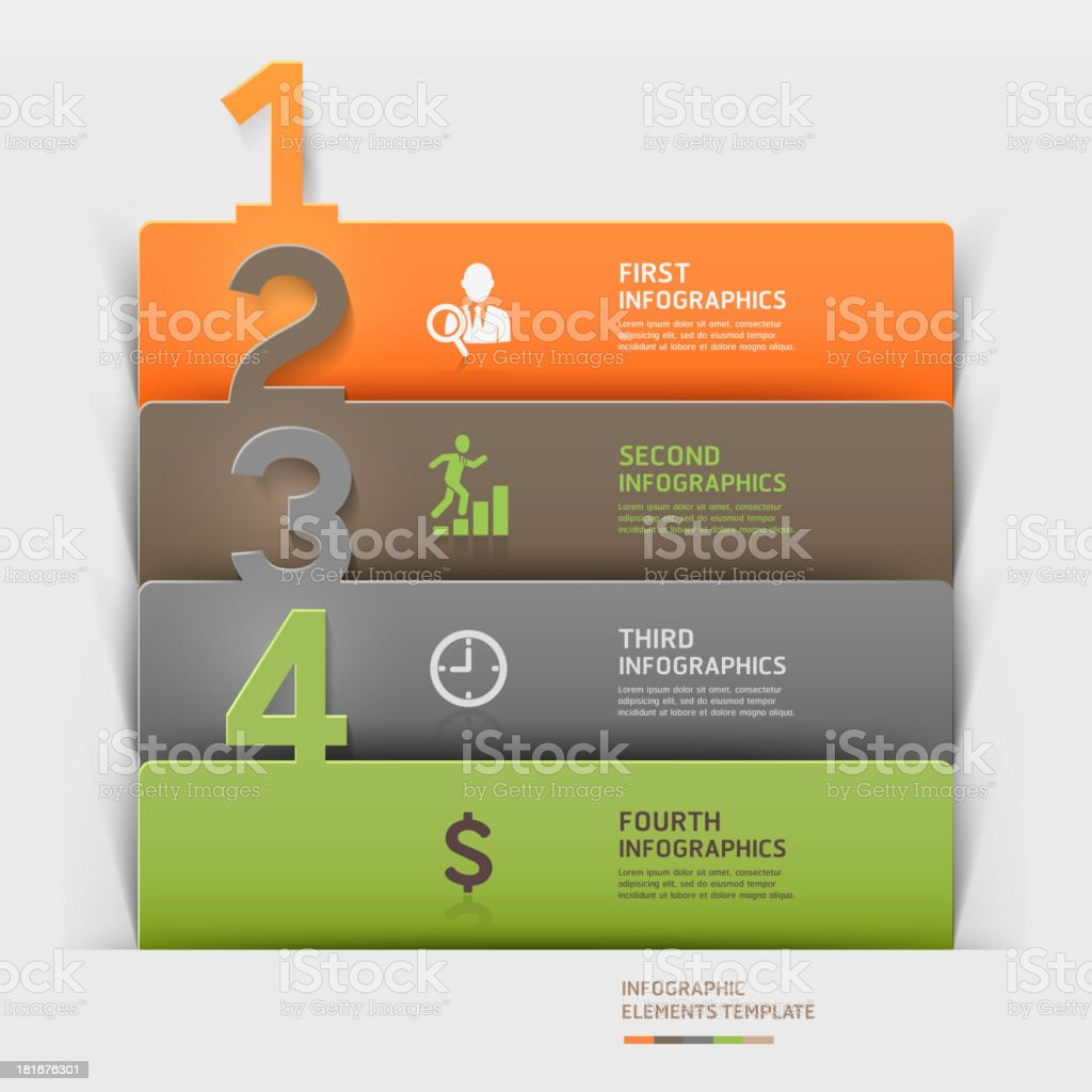 Modern business infographics number paper cut template. royalty-free stock vector art
