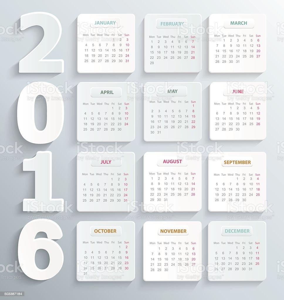 Modern calendar 2016 in a paper official style. vector art illustration