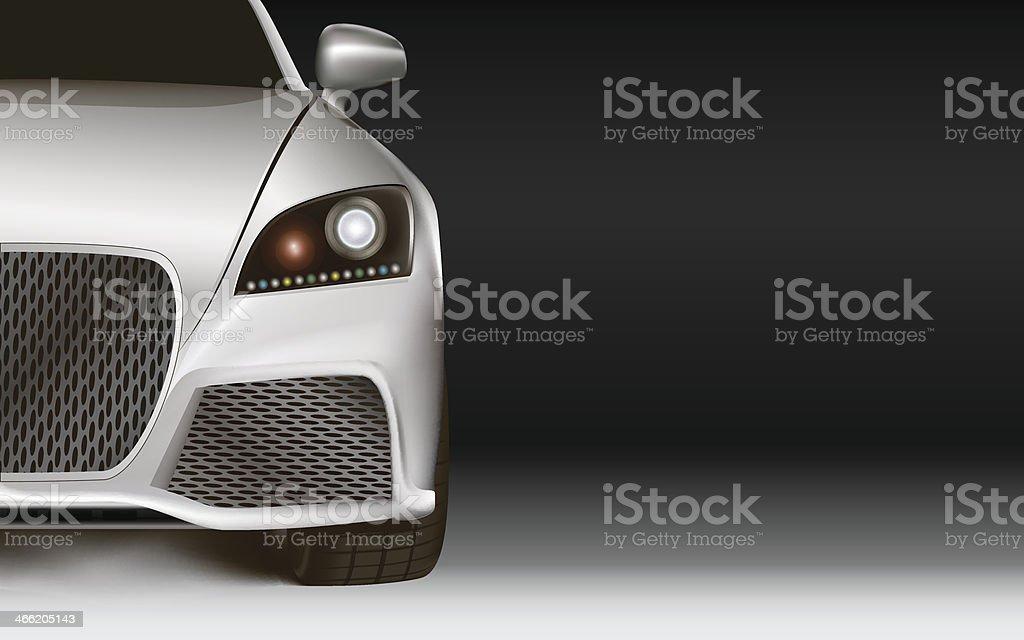 Modern Car. Dark background with copy space vector art illustration