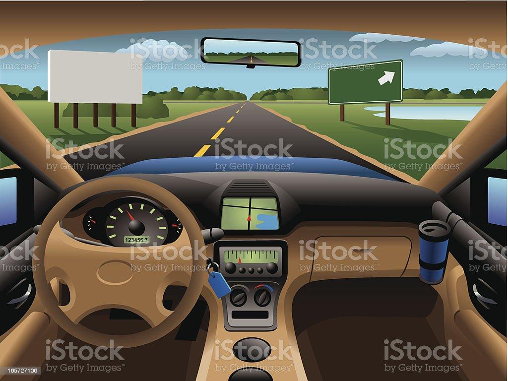Modern Car Dashboard vector art illustration