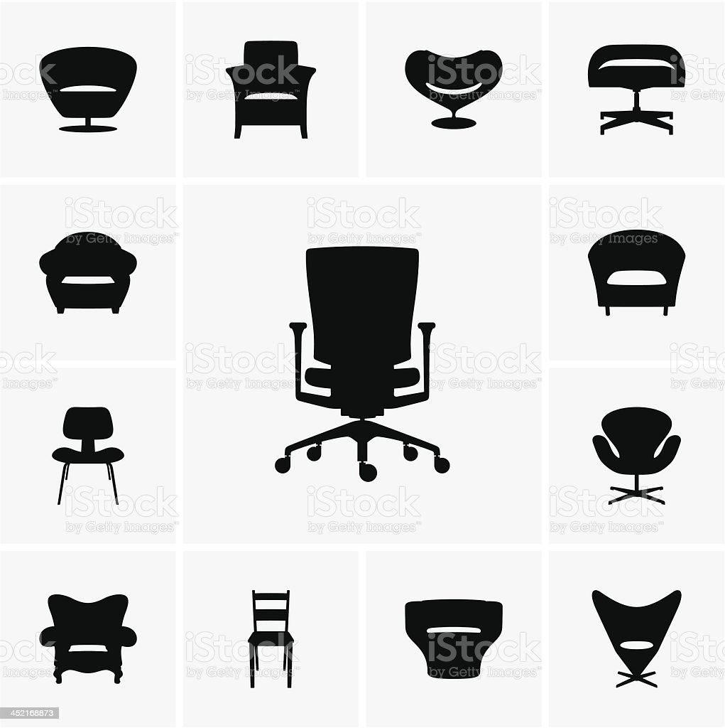Modern chairs vector art illustration