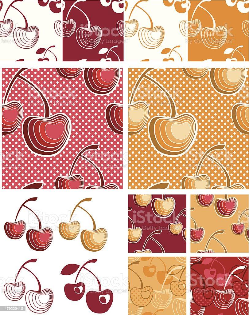 Modern Cherry Fruit Seamless Vector Patterns. royalty-free stock vector art