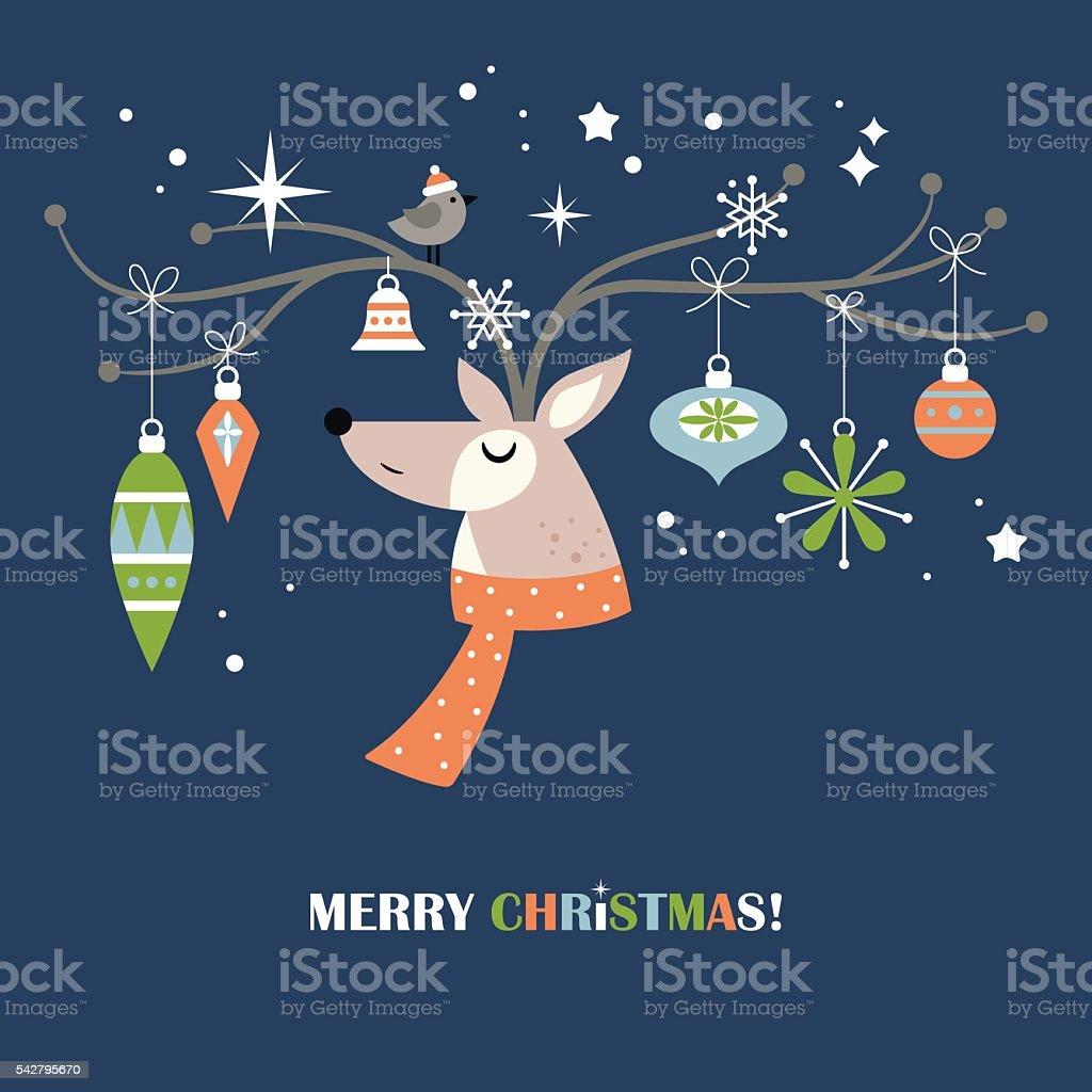 Modern Christmas holiday greeting card design with reindeer vector art illustration