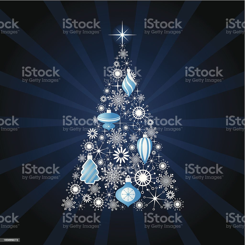 Modern Christmas tree illustration is blue and silver royalty-free stock vector art