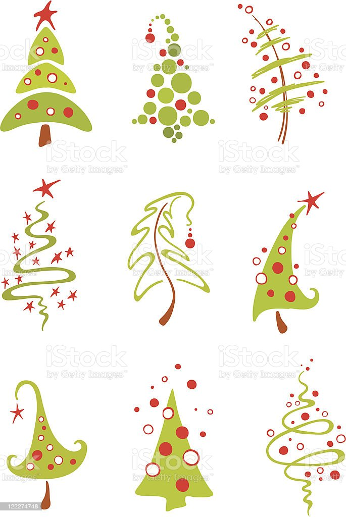 Modern Christmas Trees stock vector art 122274748 | iStock