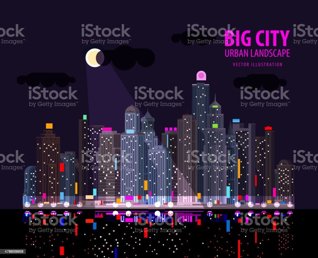 modern city by the water at night. vector. flat illustration vector art illustration
