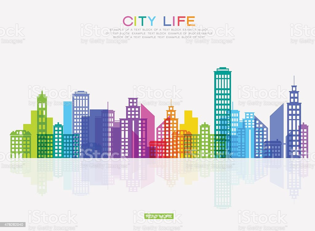 Modern city ponorama vector art illustration