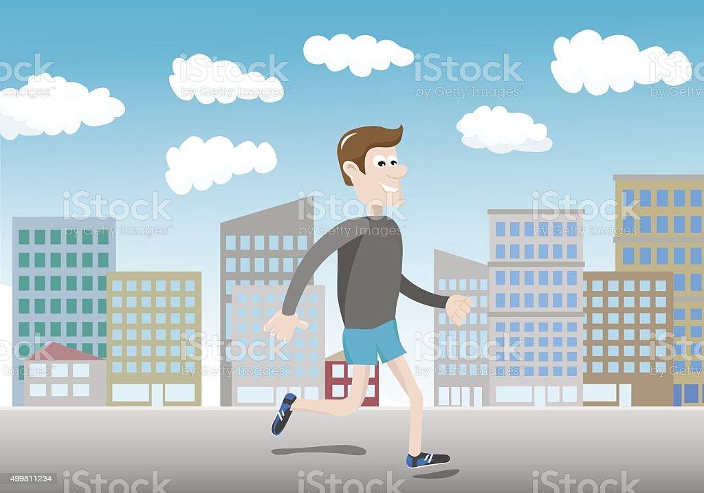 Modern city runner vector art illustration