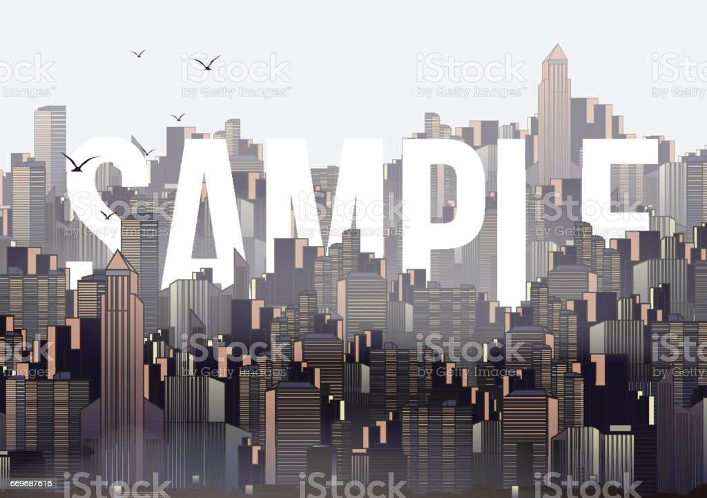 Modern City Skyline Landscape with Skyscraper Offices and Sample Text - Vector Illustration vector art illustration