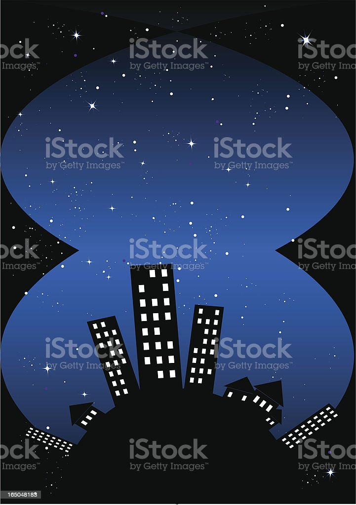 Modern city view at night royalty-free stock vector art