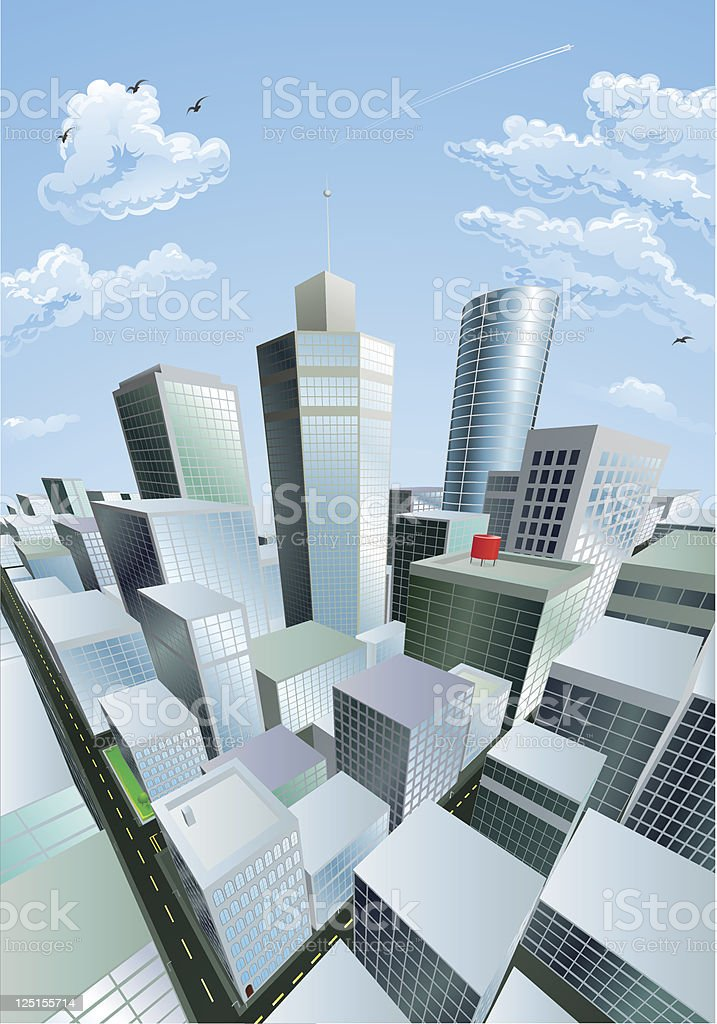 Modern cityscape of city centre financial district royalty-free stock vector art