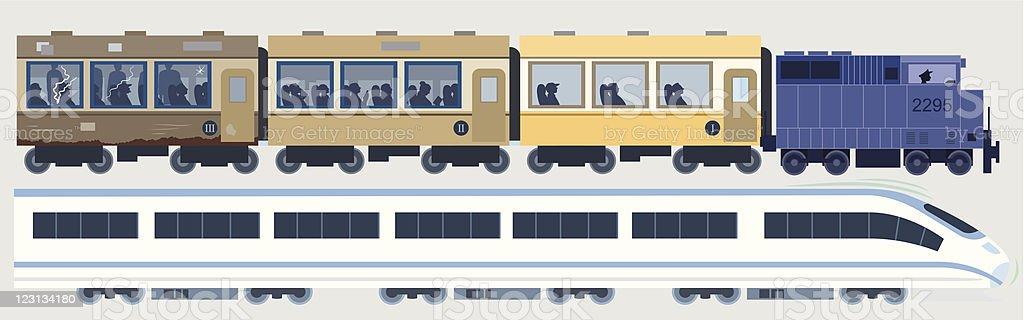 Modern & Classic Trains royalty-free stock vector art