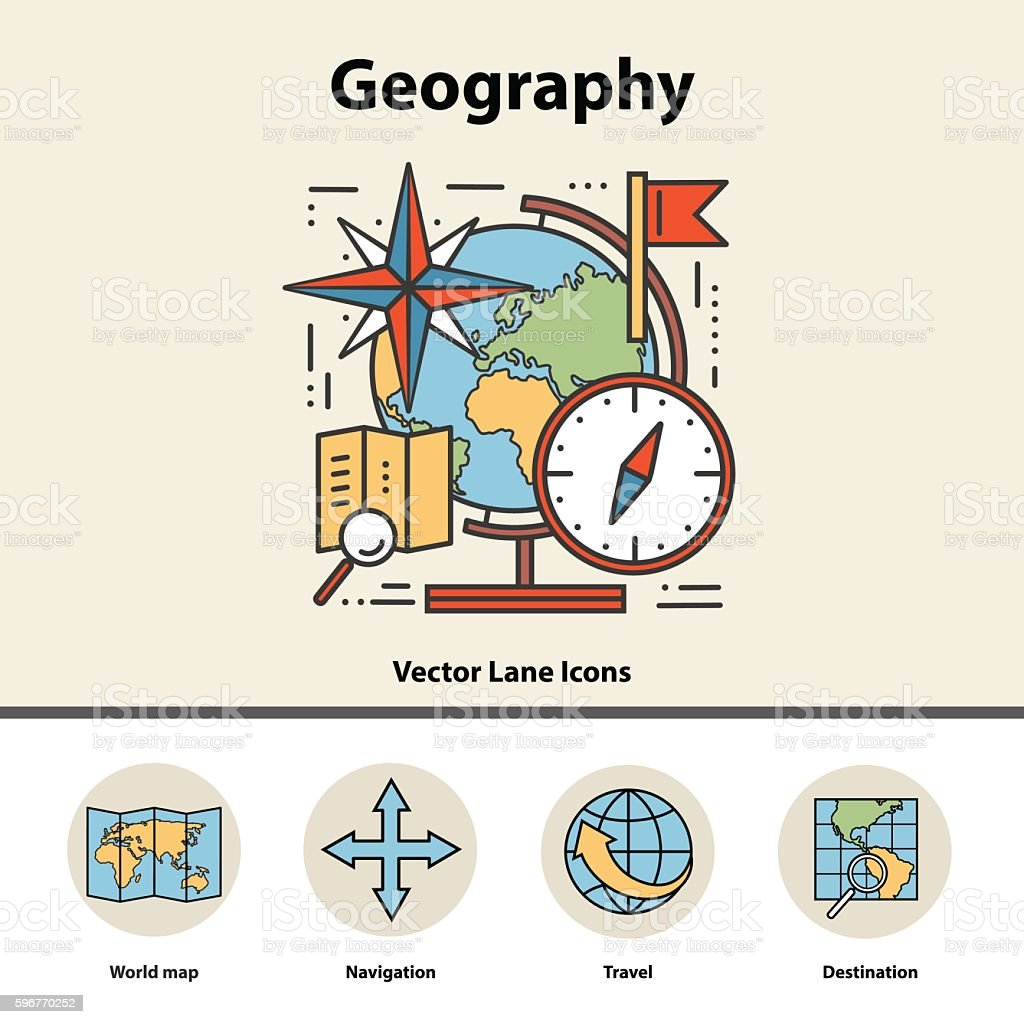Modern color concept of geography for school, university and training. vector art illustration