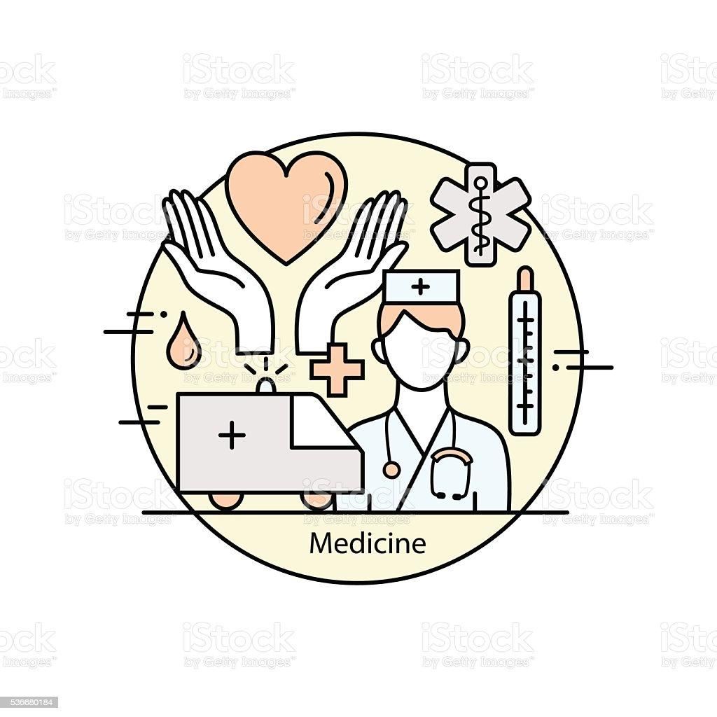 Modern color thin line art design medicine and Health symbols. vector art illustration