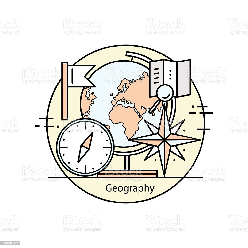Modern color thin line concept of geography. vector art illustration