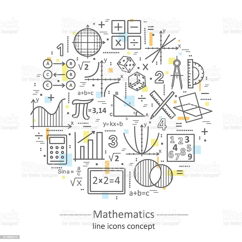 Modern color thin line concept of mathematics. vector art illustration