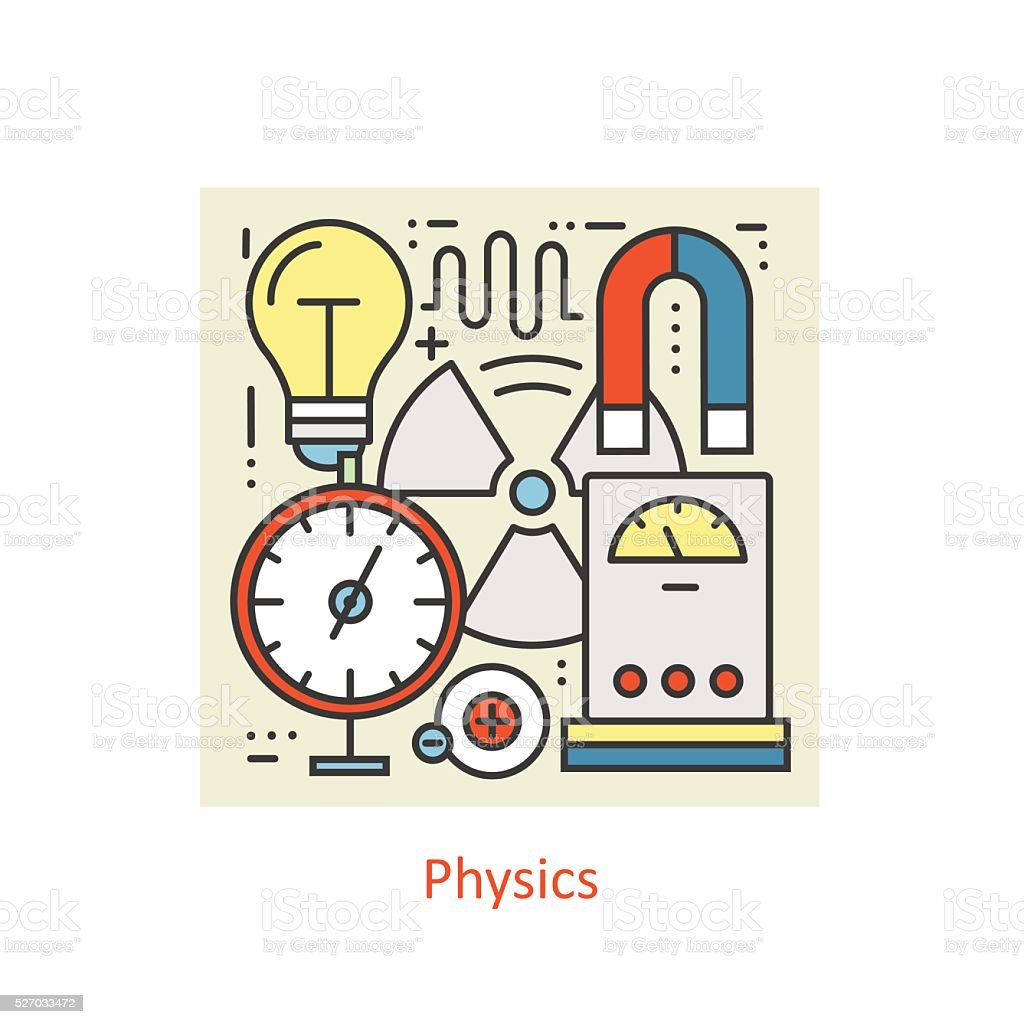 Modern color thin line concept of physics. vector art illustration
