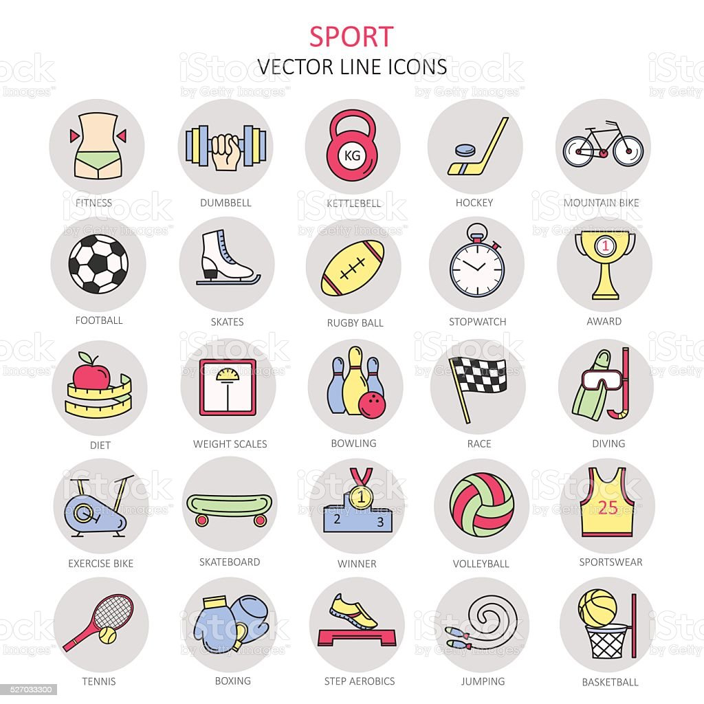 Modern color thin line icons on sports themes. vector art illustration