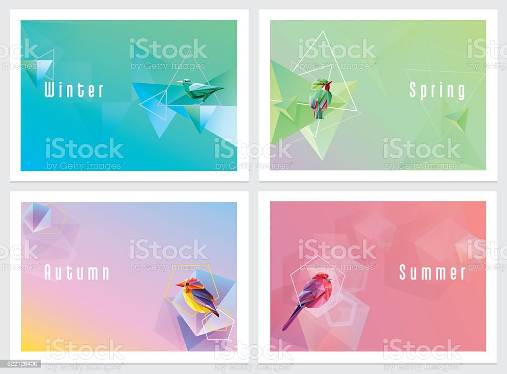 Modern colorful four seasons wallpapers with geometric shapes and birds vector art illustration