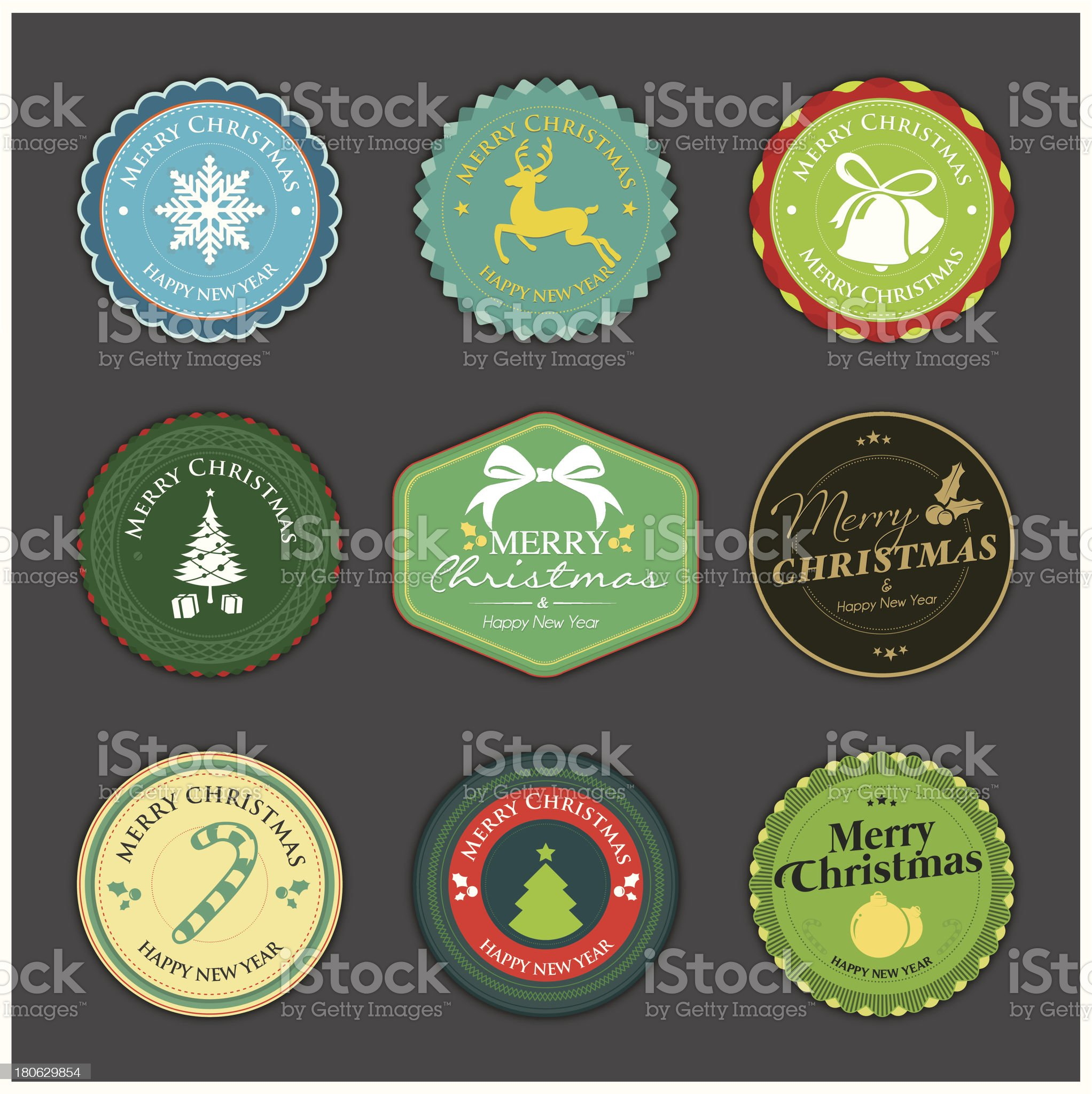 Modern colourful christmas badges royalty-free stock vector art