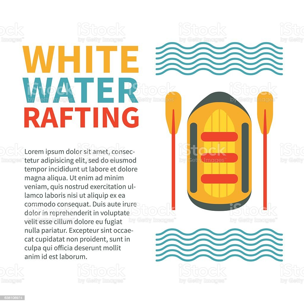 Modern colourful vertical flyer template for rafting club or spo vector art illustration
