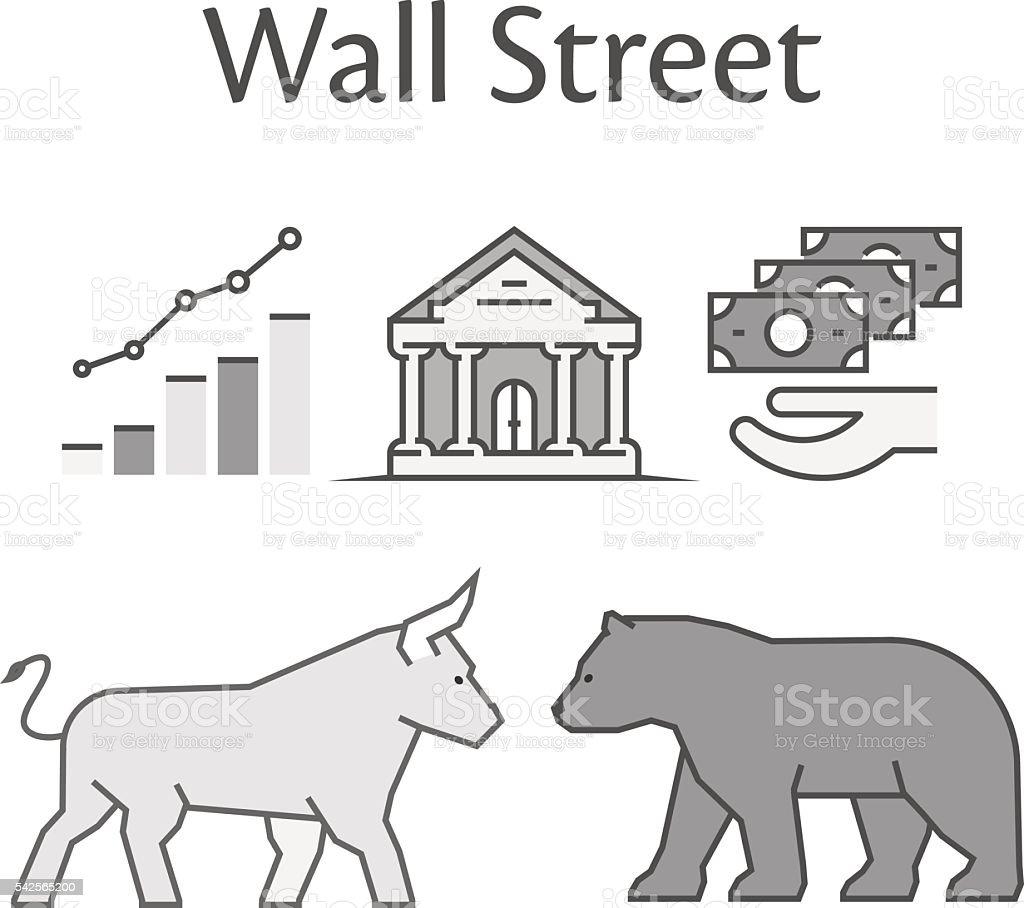 Modern concept of Wall Street. vector art illustration