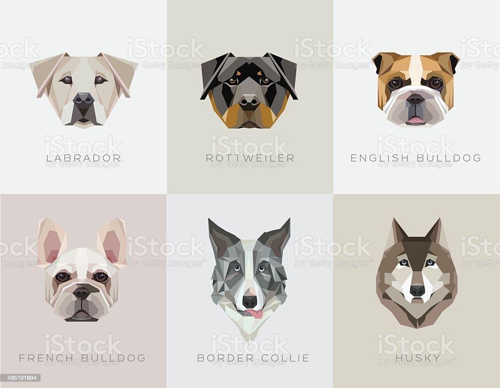 Modern contemporary geometric dog breeds vector illustrations vector art illustration